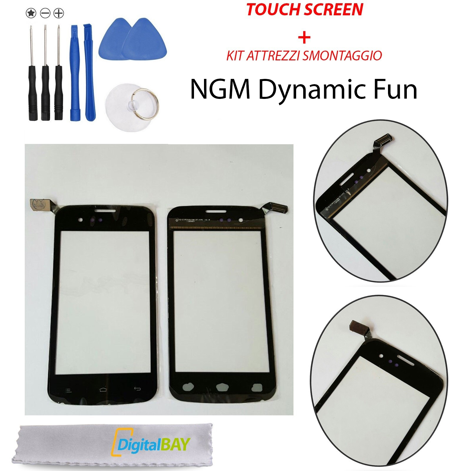 Touch Screen Kit : Touch screen vetro glass nero display schermo per ngm