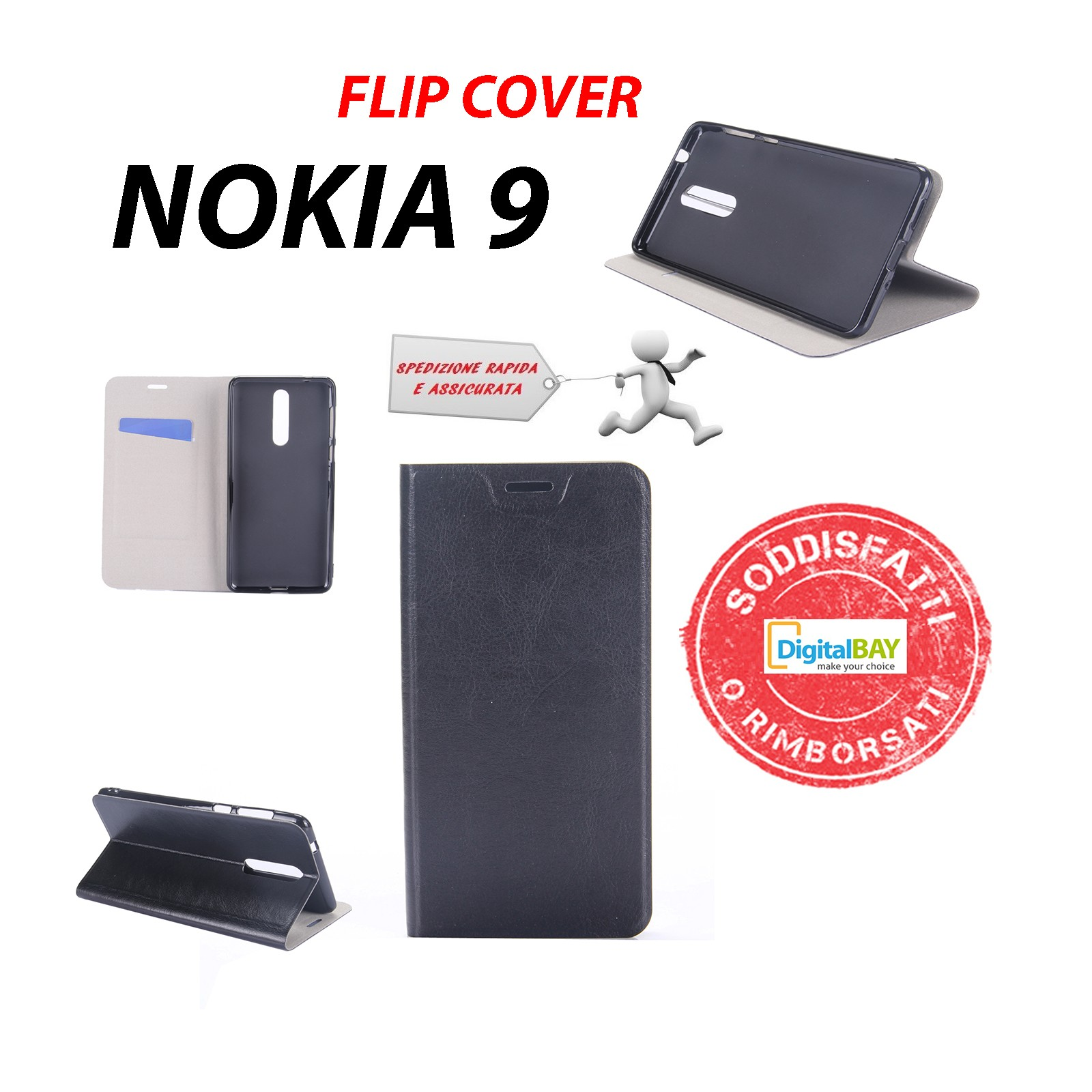 Custodia Cover Horizontal Flip Case Libro Eco Pelle Nero Per Nokia 8